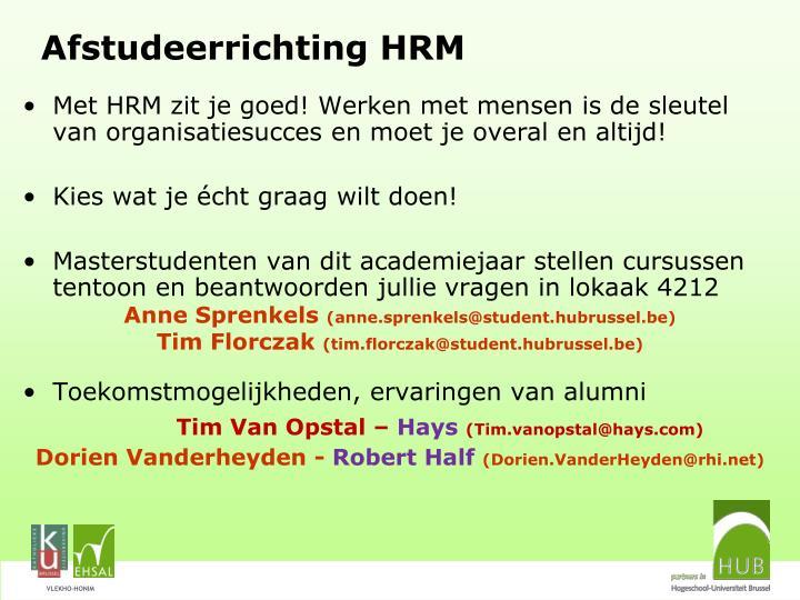 Afstudeerrichting HRM