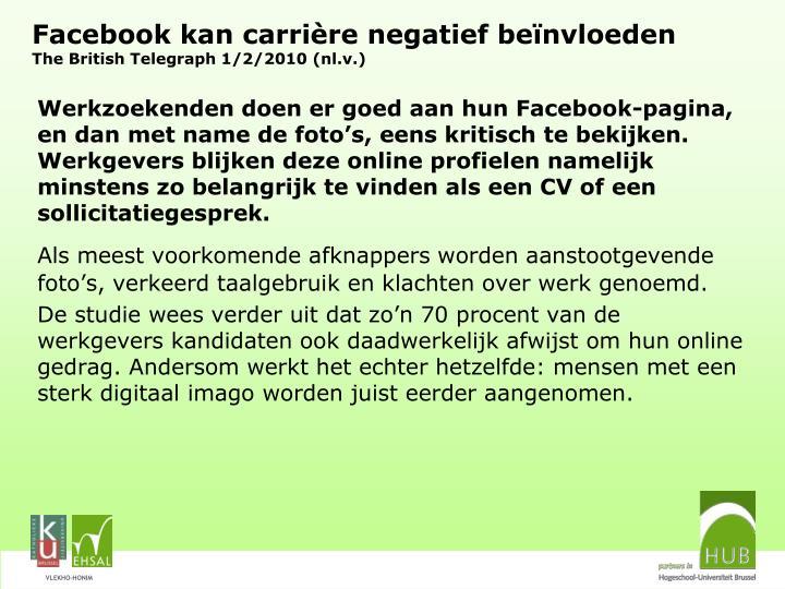 Facebook kan carrière negatief beïnvloeden