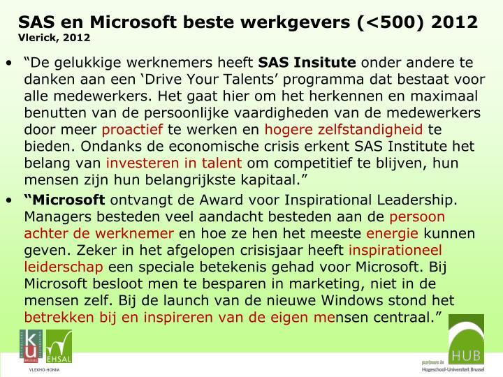 SAS en Microsoft beste werkgevers (<500) 2012