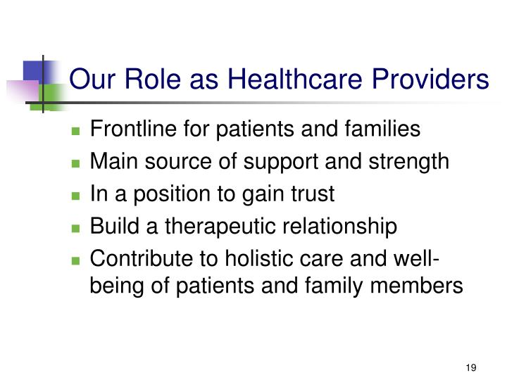 Our Role as Healthcare Providers