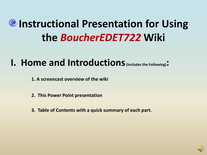 instructional presentation for using the boucheredet722 wiki n.