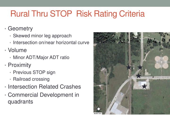 Rural Thru STOP  Risk Rating Criteria