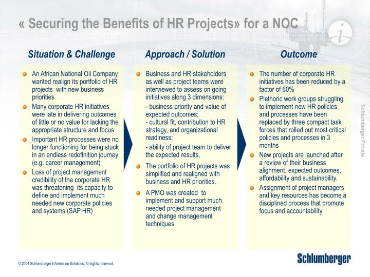securing the benefits of hr projects for a noc n.