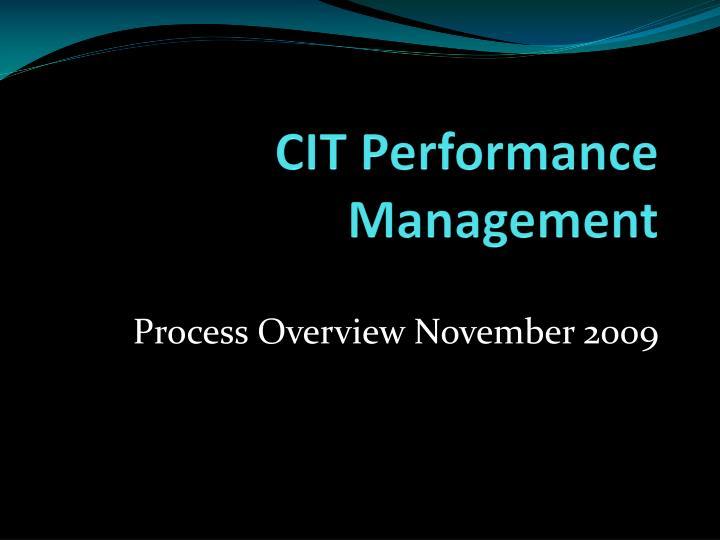 cit performance management n.
