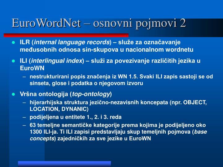 EuroWordNet – osnovni pojmovi 2