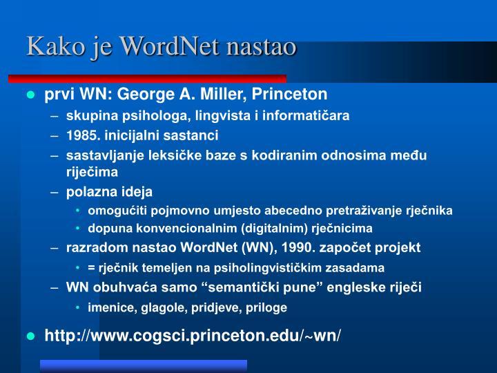 Kako je WordNet nastao