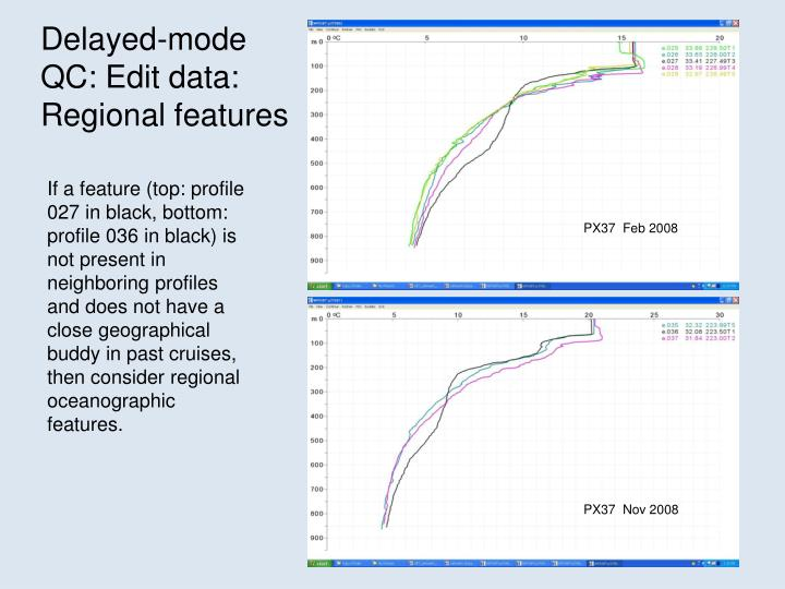 Delayed-mode QC: Edit data: Regional features