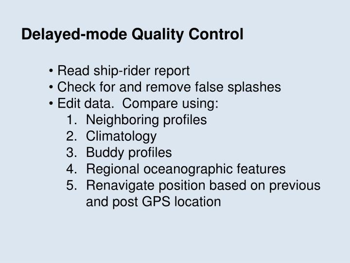 Delayed-mode Quality Control
