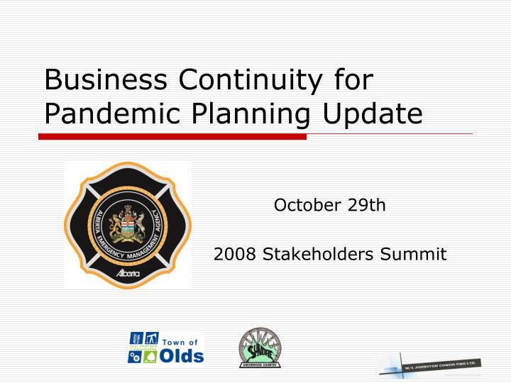 business continuity for pandemic planning update n.