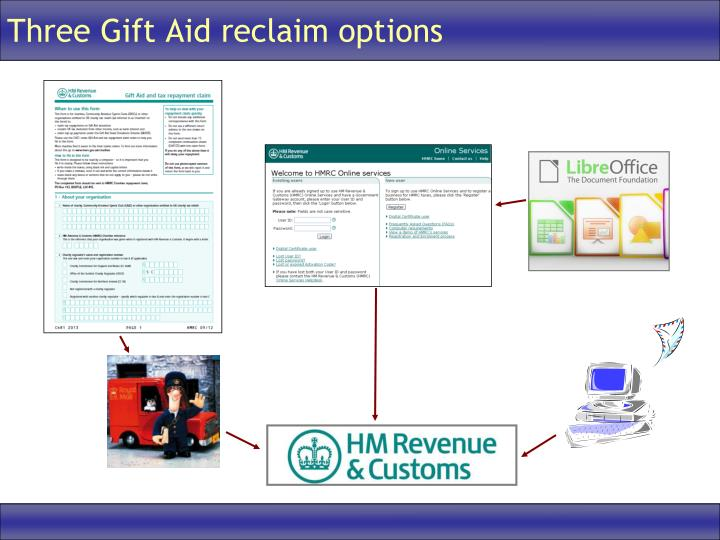 Ppt charities online new gift aid claim process powerpoint three gift aid reclaim options negle Images