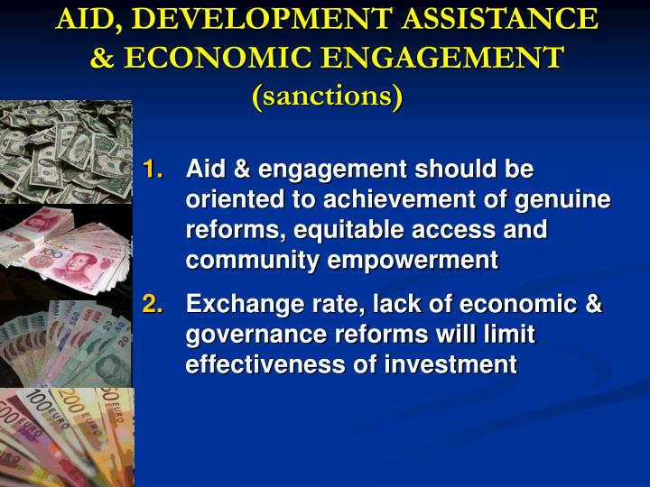 AID, DEVELOPMENT ASSISTANCE & ECONOMIC ENGAGEMENT (sanctions)