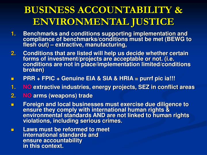 BUSINESS ACCOUNTABILITY & ENVIRONMENTAL JUSTICE