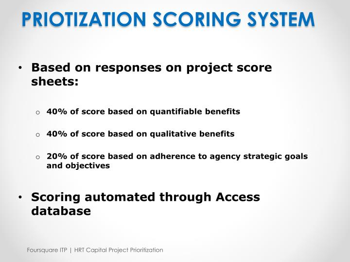 PRIOTIZATION SCORING SYSTEM