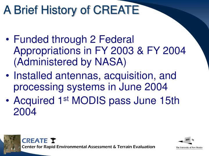 A Brief History of CREATE