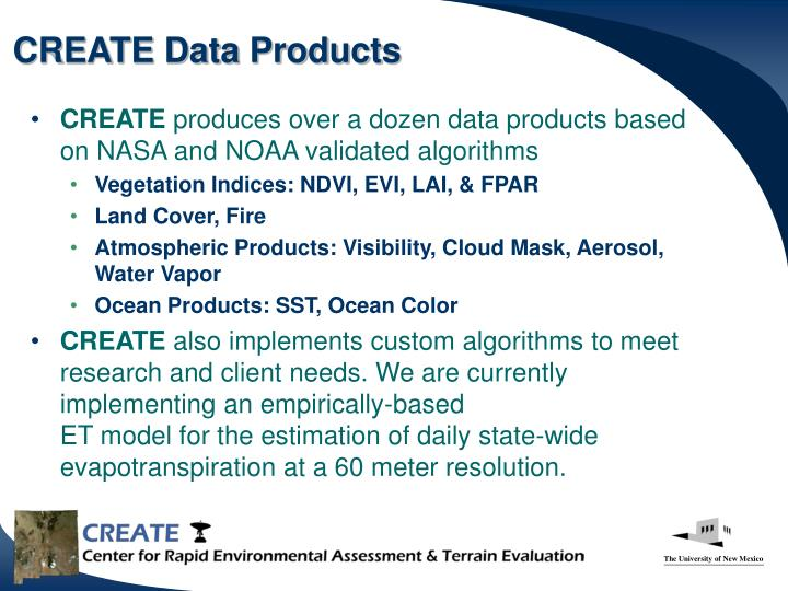 CREATE Data Products