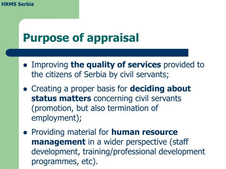 Purpose of appraisal