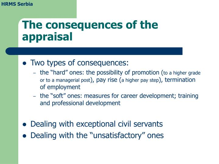 The consequences of the appraisal