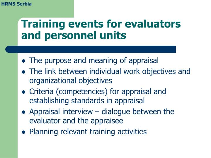 Training events for evaluators and personnel units