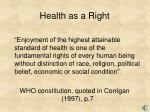 health as a right