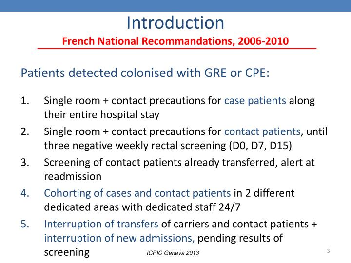 Introduction french national recommandations 2006 2010