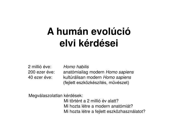 Emberi evolúció ppt