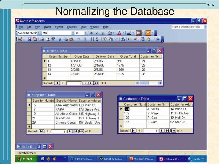 Normalizing the Database