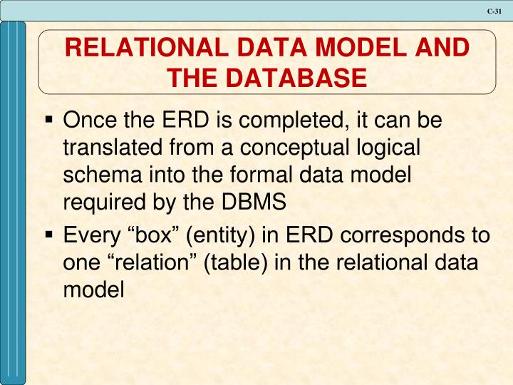 RELATIONAL DATA MODEL AND THE DATABASE