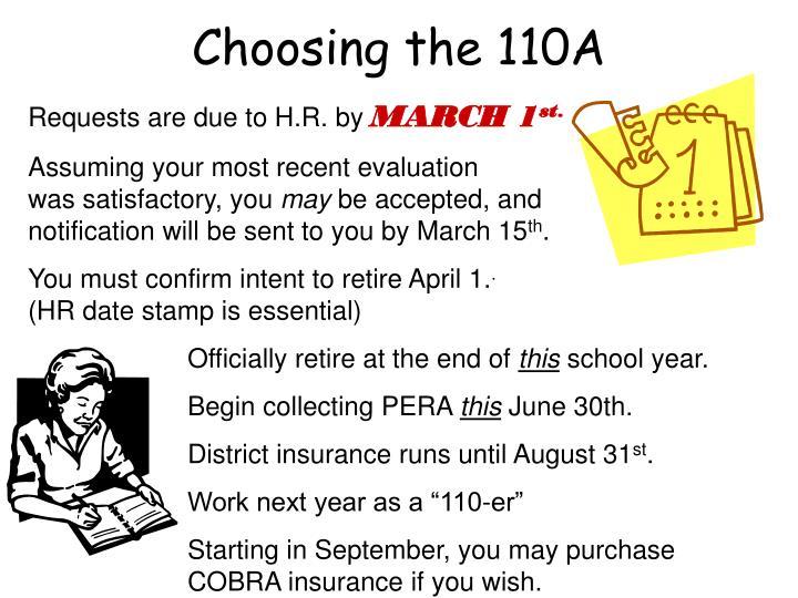 Choosing the 110A