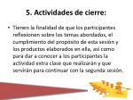5 actividades de cierre