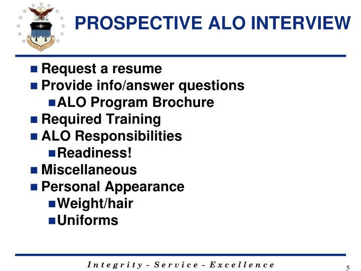 PROSPECTIVE ALO INTERVIEW