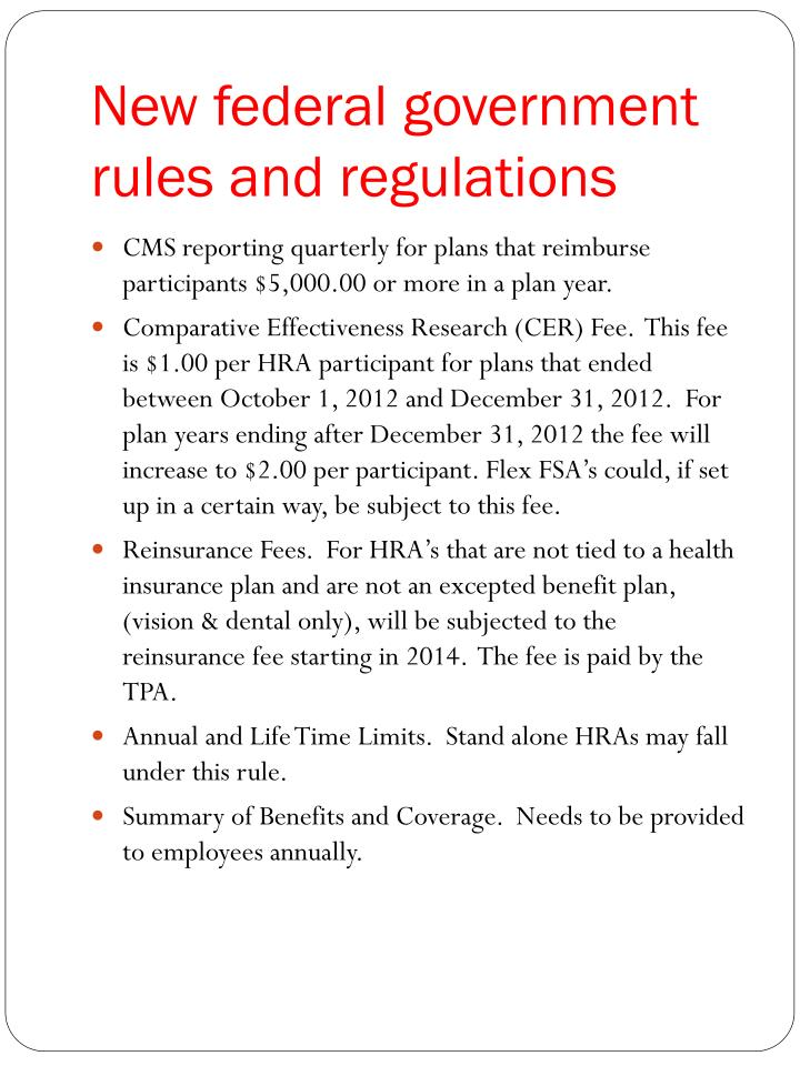 New federal government rules and regulations