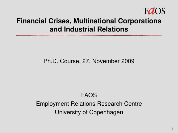 financial crises multinational corporations and industrial relations n.
