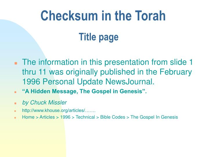 PPT - Checksum in the Torah PowerPoint Presentation - ID:3530336