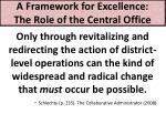 a framework for excellence the role of the central office