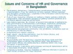 issues and concerns of hr and governance in bangladesh