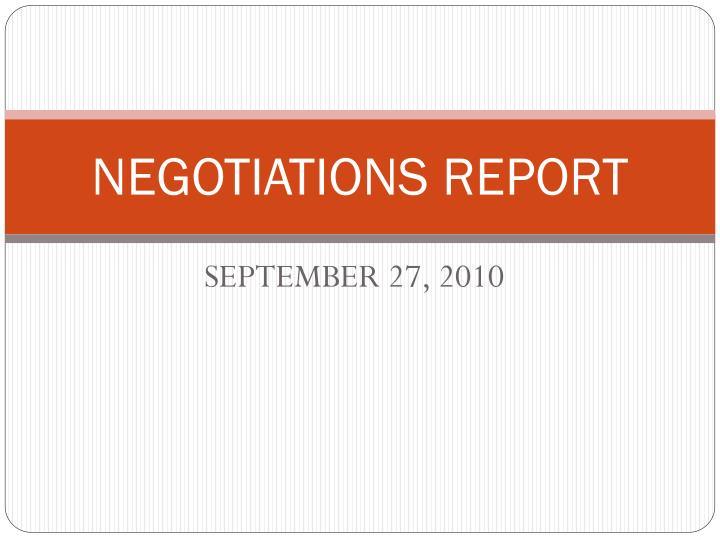 negotiations report n.