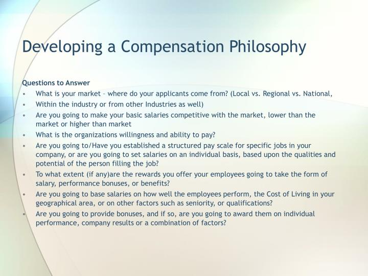 Developing a Compensation Philosophy