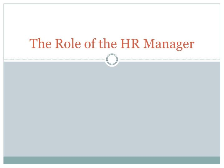 the role of the hr manager n.