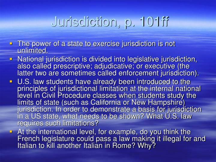 Jurisdiction p 101ff