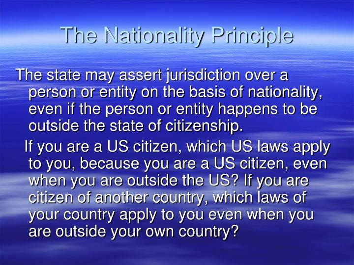The Nationality Principle