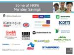 some of hrpa member savings