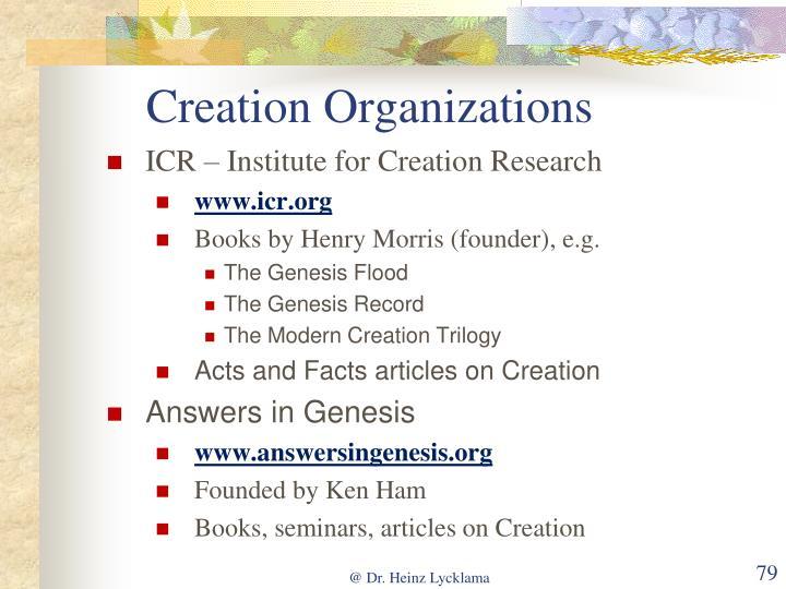 Creation Organizations