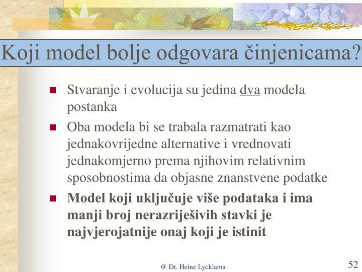 Koji model bolje odgovara činjenicama