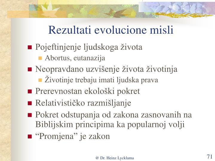 Rezultati evolucione misli