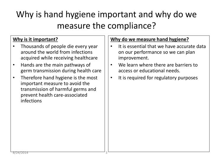 Why is hand hygiene important and why do we measure the compliance