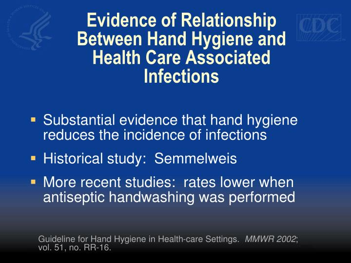 Evidence of relationship between hand hygiene and health care associated infections
