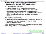 priority 4 wire routing and flammability approval for items in tso type design