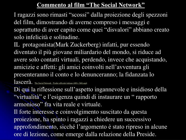 "Commento al film ""The Social Network"""
