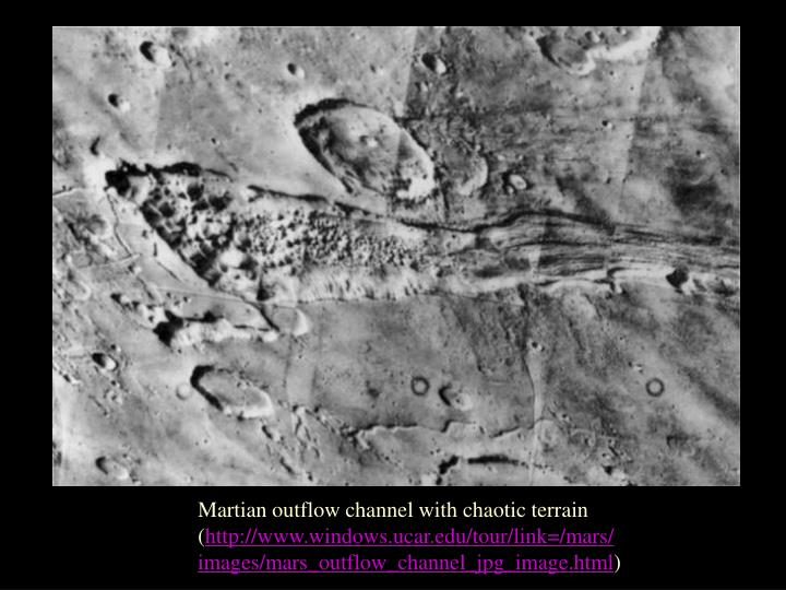 Martian outflow channel with chaotic terrain