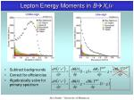 lepton energy moments in b x c l n3